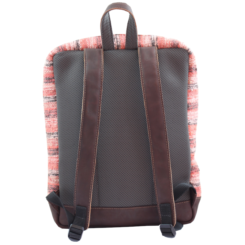 Wool and leather Achiote Jaspe Coral backpack back