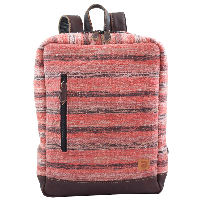 Wool and leather Achiote Jaspe Coral backpack front