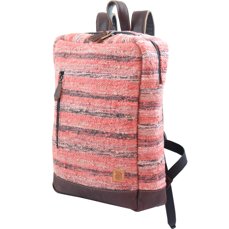 Wool and leather Achiote Jaspe Coral backpack side