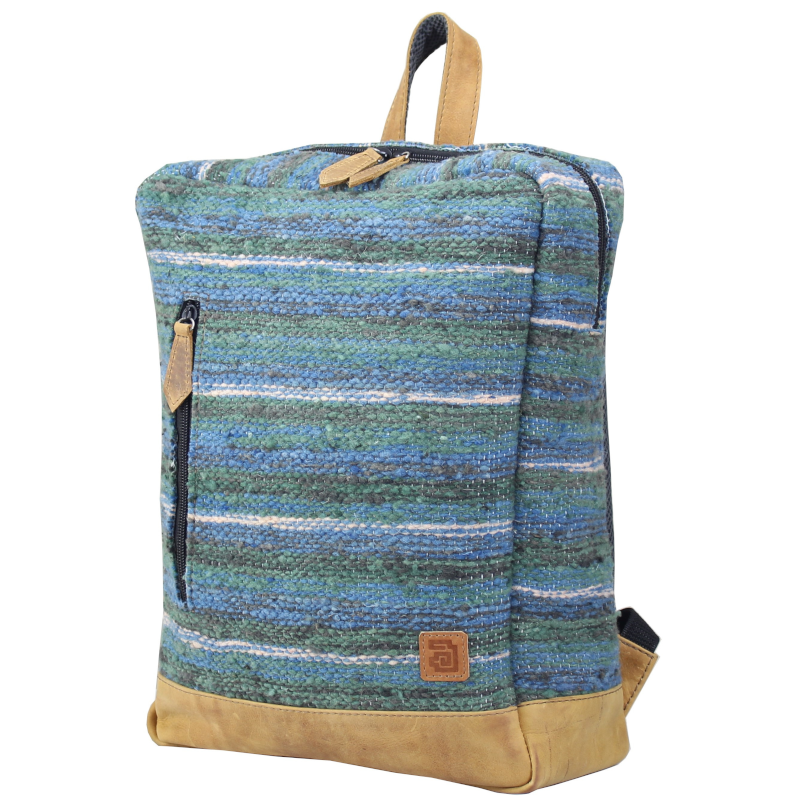 Wool and leather achiote Jaspe Mint  backpack side