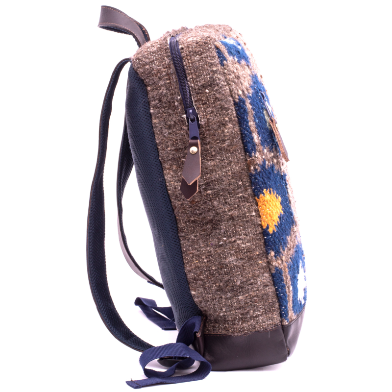 Handmade wool and leather Achiote Tierra backpack side