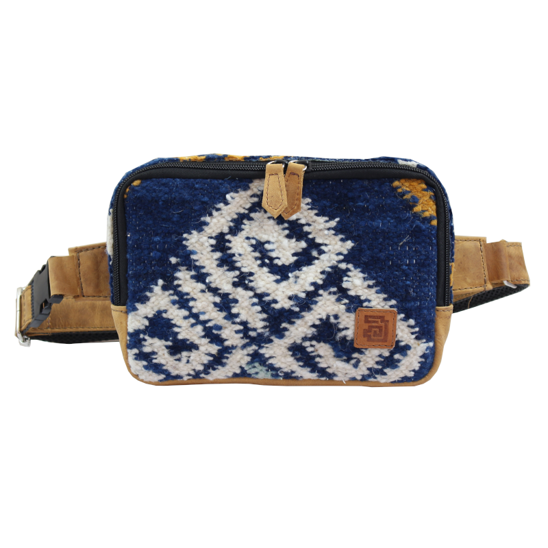 Handmade natural wool and leather belt bag agua front