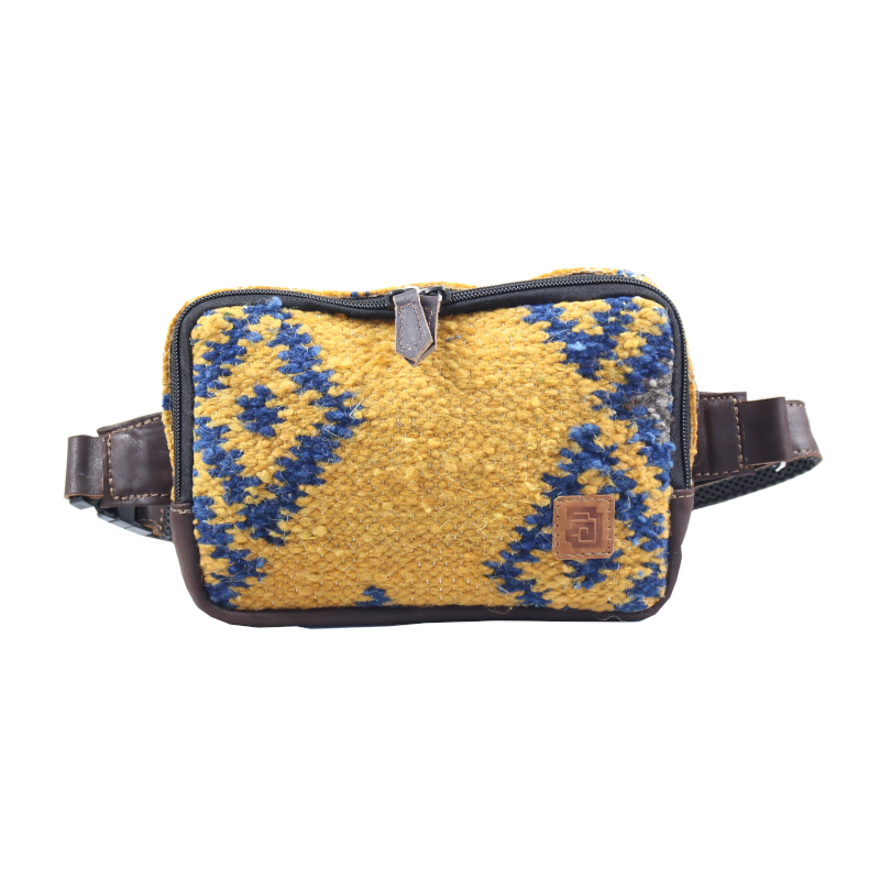 Handmade yellow belt bag natural wool and leather fuego front