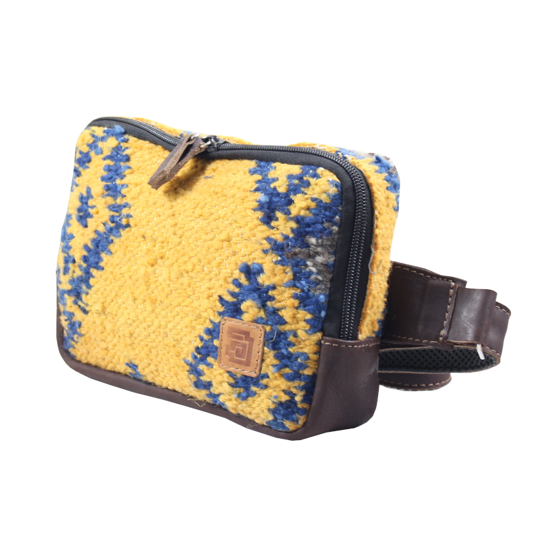 Handmade yellow belt bag natural wool and leather fuego side
