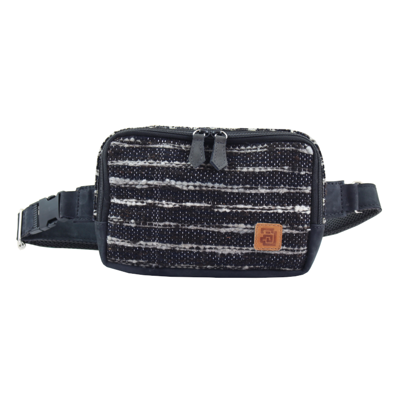 Handmade wool and leather belt bag Jaspe black front
