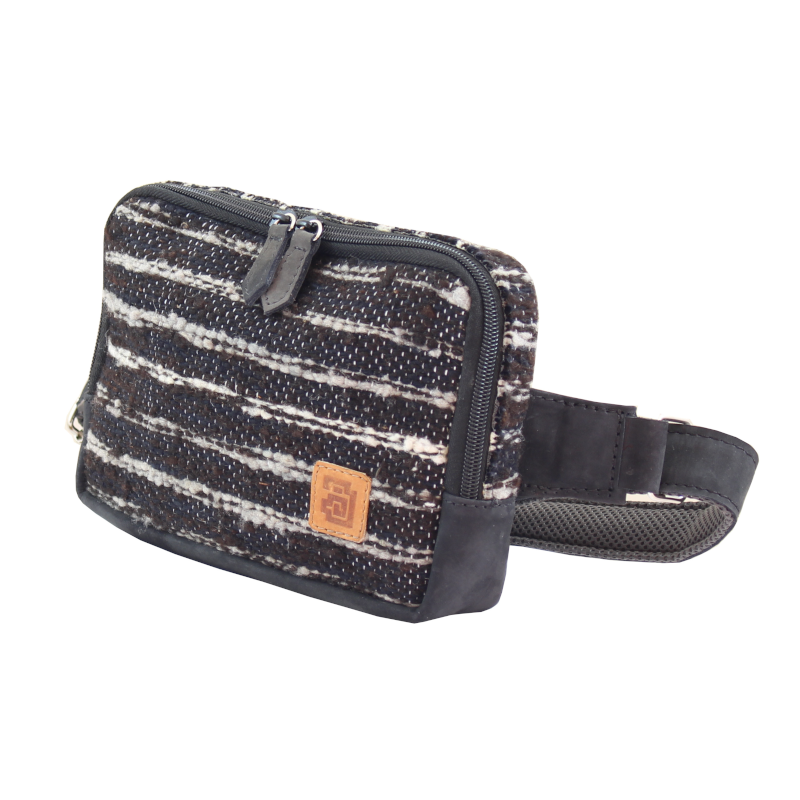 handmade wool and leather belt bag jaspe black side