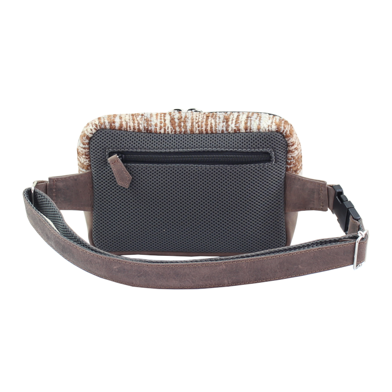 Handmade natural wool and leather belt bag Jaspe Brown back