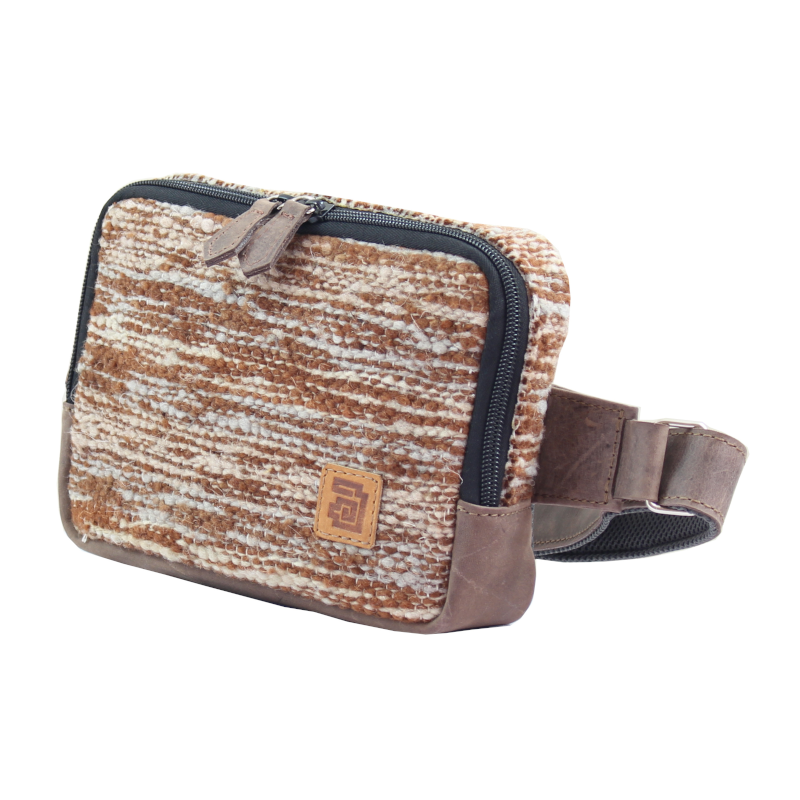 Handmade natural wool and leather belt bag Jaspe Brown side