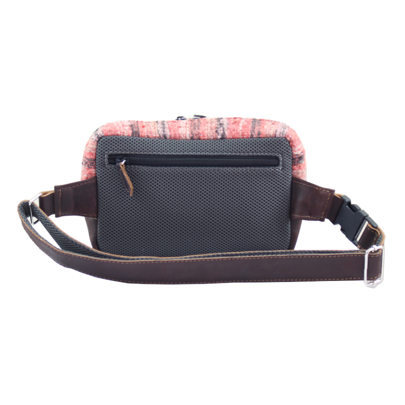 Handmade wool and leather belt bag Jaspe Coral back