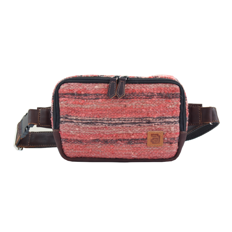 Handmade wool and leather belt bag Jaspe Coral front