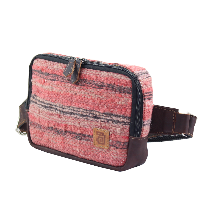 Handmade wool and leather belt bag Jaspe Coral side