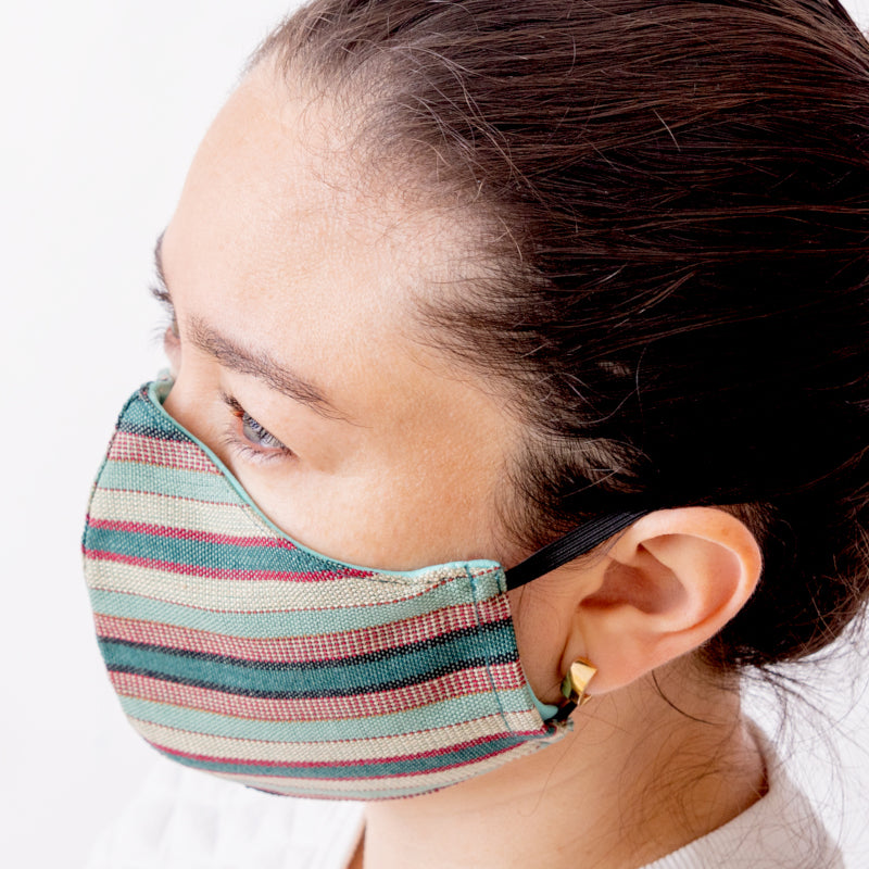 Achiote handmade cotton 3 layer face mask line design jade color wearing