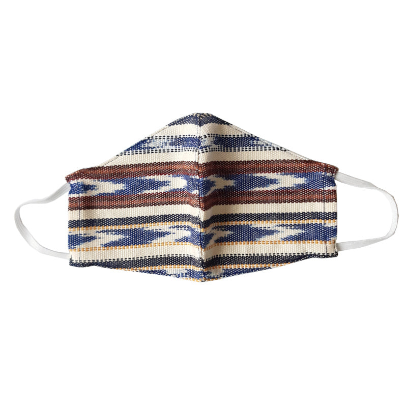Achiote facemask of Jaspe Traditional Weaving indigo and white colors