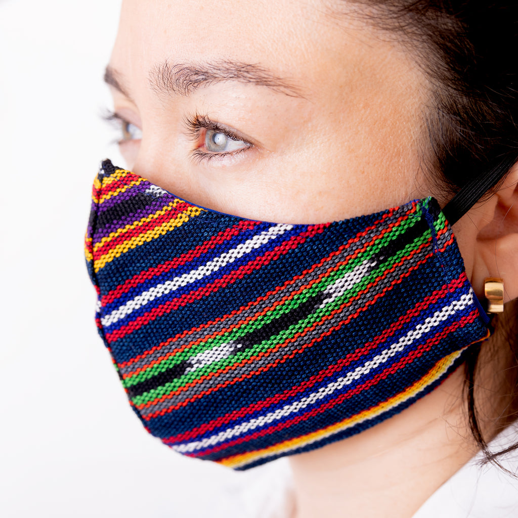 Achiote face mask handmade jaspe blue wearing side