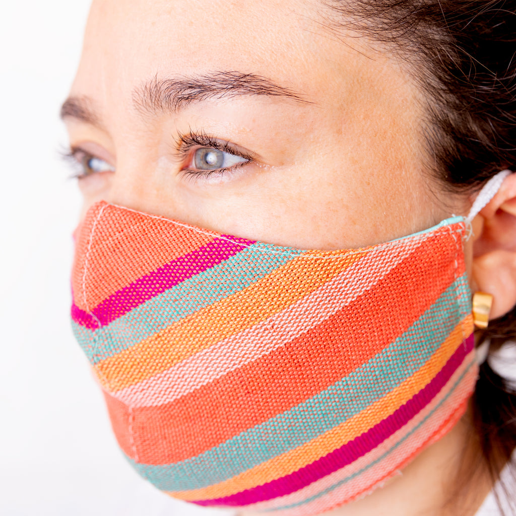Achiote cotton 3 layer face mask handmade lines design Coral color with filter and fast dry lining