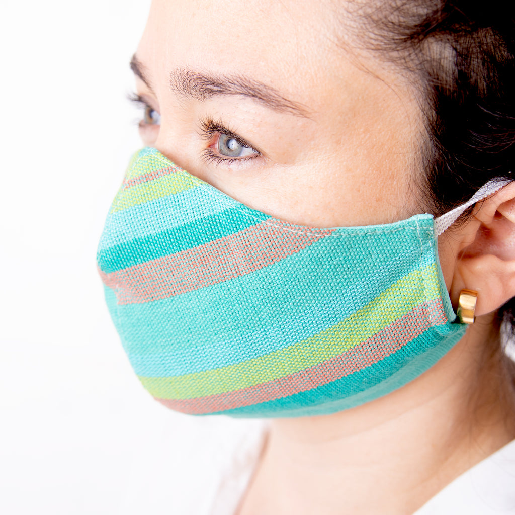 Achiote handmade cotton 3 layer face mask line design mint color wearing