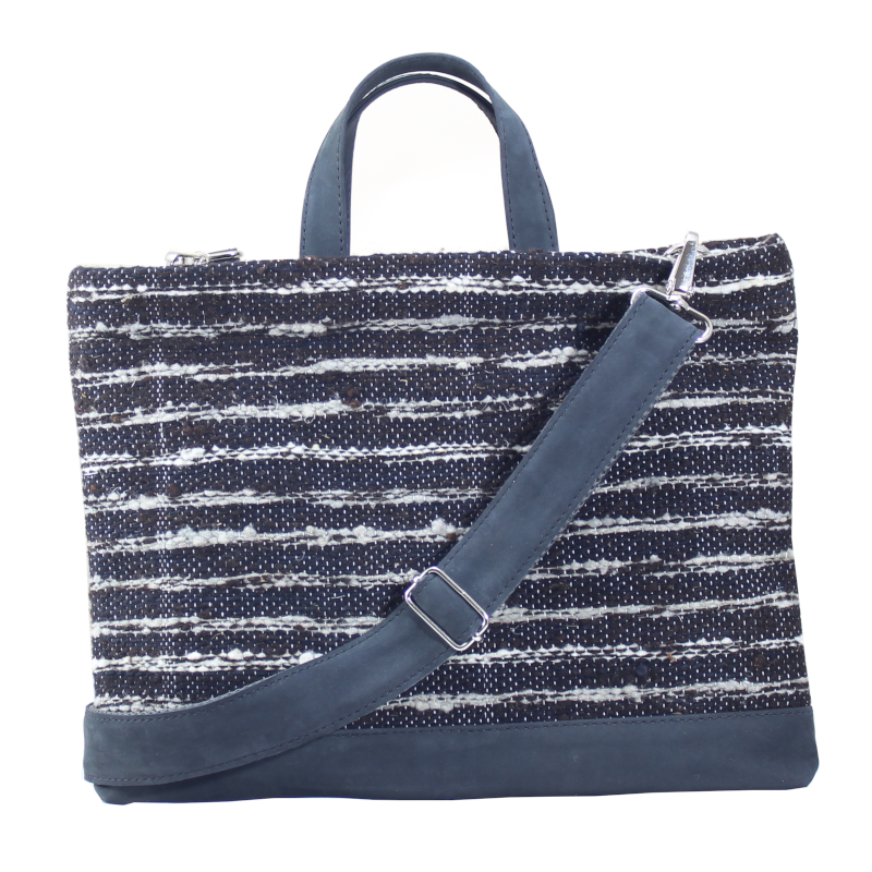 Black Wool & Leather Laptop Tote Bag