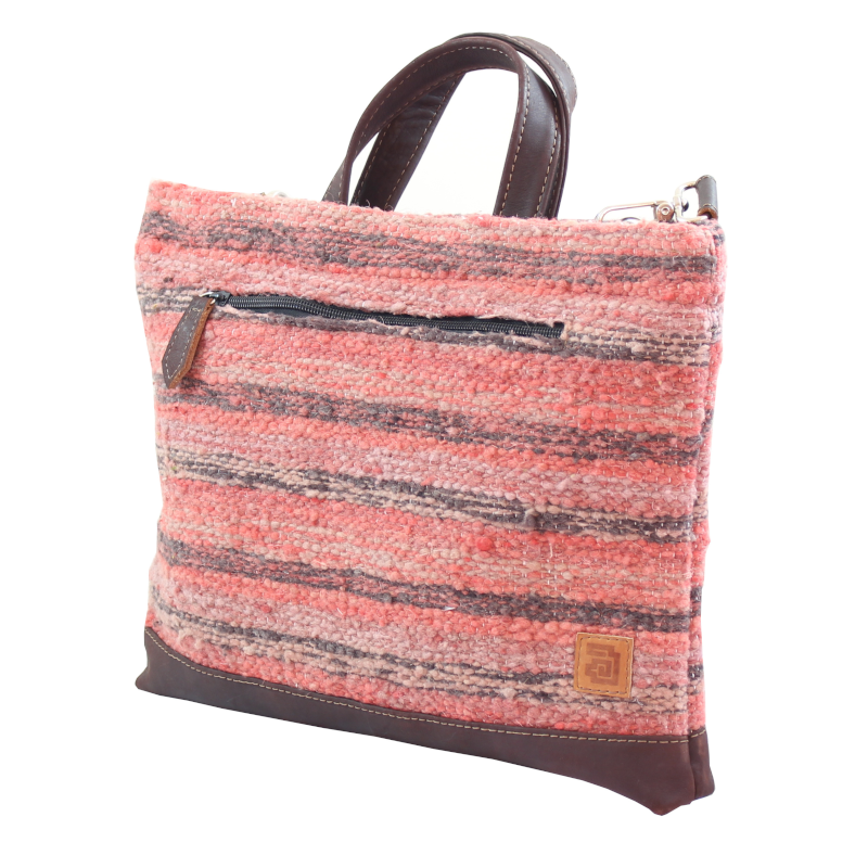 Coral Laptop Tote Bag Wool & Leather