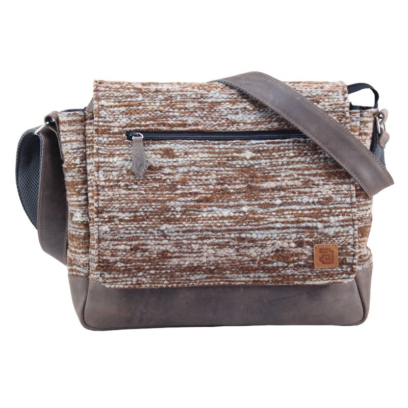 Handmade natural wool and leather  messenger bag jaspe brown front