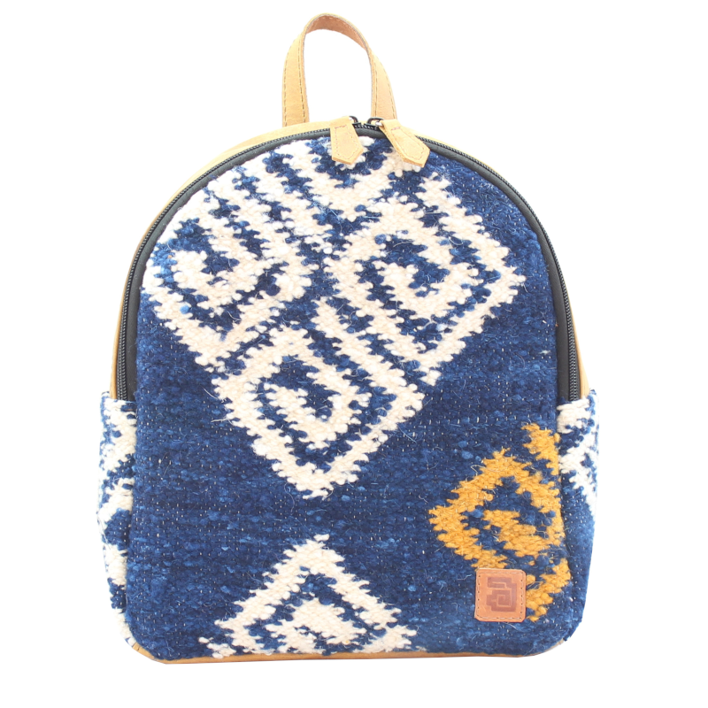 Mini Backpack Agua Front Dark Blue White Swirls Wool