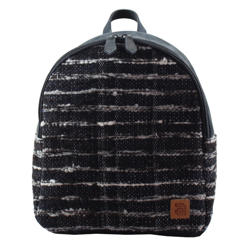 Mini Backpack - Wool & Leather Jaspe Black