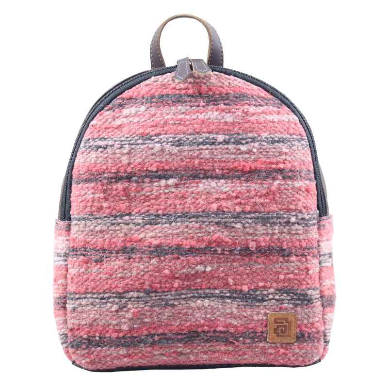 Mini Backpack - Wool & Leather Jaspe Coral