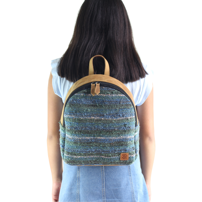 Mini Backpack - Wool & Leather Jaspe Mint