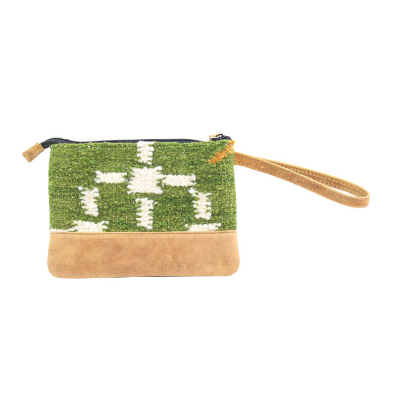 Handmade natural wool and leather pouch bag back