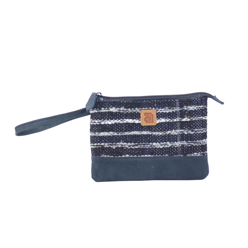 Handmade natural wool and leather pouch bag front