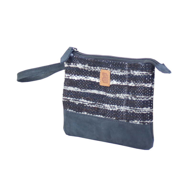 Handmade natural wool and leather pouch bag side