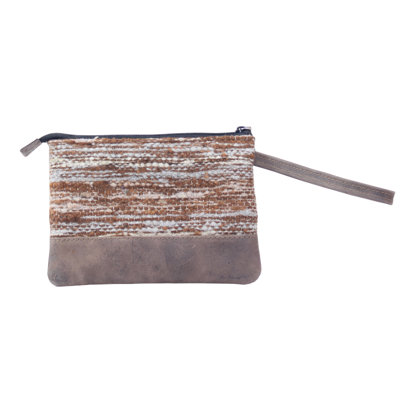 Handmade natural wool and leather pouch bag Jaspe Brown back