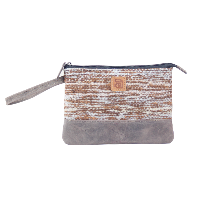 Pouch - Jaspe Brown: Wool & Leather 100% Handmade in Guatemala