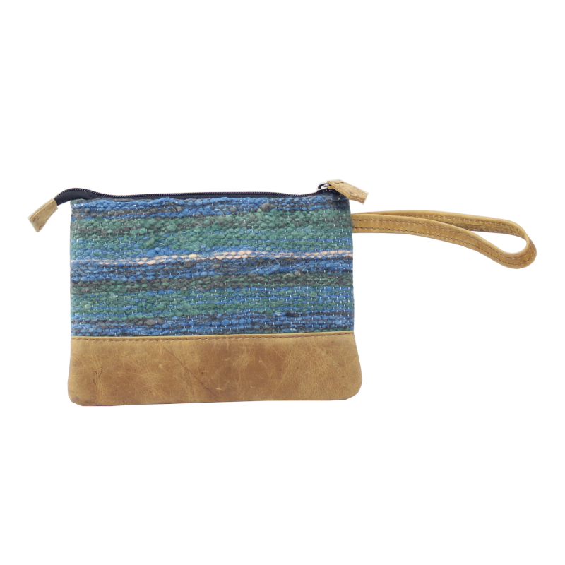 Handmade natural wool and leather pouch Jaspe Mint back
