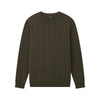 Cable Knit Crewneck Sweater Olive