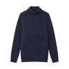 Marled Cashmere Turtleneck Sweater Marled Blue