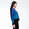 Wool Cashmere Ombre Crewneck Sweater Blue Ombre