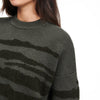 Wool Cashmere Tiger Stripe Crewneck Sweater Agave Green
