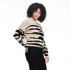 Wool Cashmere Tiger Stripe Crewneck Sweater Oatmeal