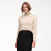 Cashmere Cropped Turtleneck Oatmeal