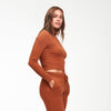 Cashmere Cropped Turtleneck Orange Rust