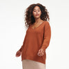 Cashmere Oversized V-Neck Sweater Orange Rust