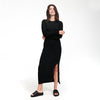 Lightweight Long Sleeve Dress with Slit Black