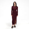 Lightweight Long Sleeve Dress with Slit Dark Purple