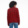 Cable Knit Crewneck Sweater Cranberry Red