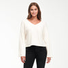 Cashmere Wide Sleeve V-Neck Sweater White