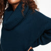 Cashmere Oversized Cowl Neck Sweater Dark Teal Blue