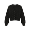 Cropped Cable Knit Cardigan Black