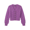 Cropped Cable Knit Cardigan Purple Iris