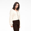 Cropped Cable Knit Cardigan White