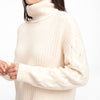 Cable Knit Sleeve Turtleneck White